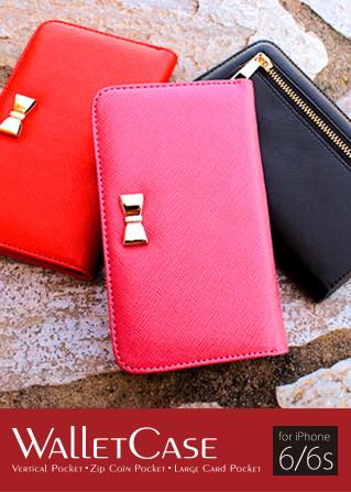 ゴールドのリボンがアクセント!!『お財布と一体化』したiPhoneケース