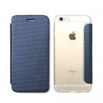 【iPhone6s/6 ケース】背面クリア 手帳型ケース Metallic ネイビー