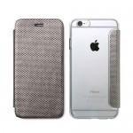 【iPhone6s/6 ケース】背面クリア 手帳型ケース Metallic シルバー