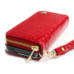 【iPhone SE 5s/5 ケース】Zipper お財布付きダイアリーケース クロコエナメル レッド