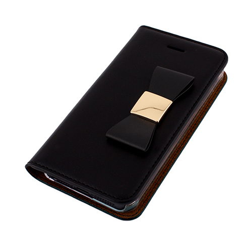 ゴールド×レザーで作った-デカリボン-がカワイイ!本革の手帳型iPhone SEケース!