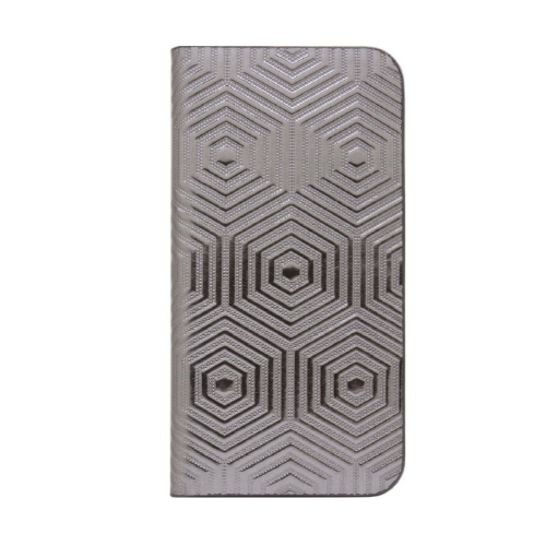 メタルな雰囲気にジオメトリック柄が栄える!ホログラム加工の手帳型iPhone SEケース
