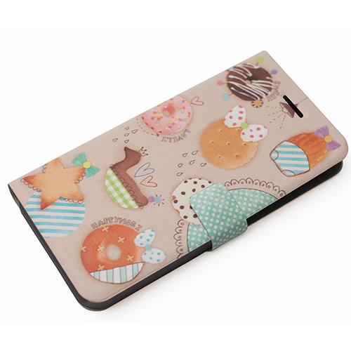 個性的!クッキーとドーナッツのデザインがカワイイ手帳型ケース